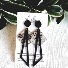 Black/ Silver, Genuine Leather, Polymer Clay Dangle Stud Earrings
