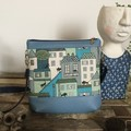 Jasmine Crossbody Bag - Blue/Green Houses & Cats