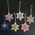 Six Xmas Tree Snowflake Ornaments with Silver Centre