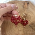 Boho earrings, red earrings with pearls, macrame earrings