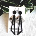 Black/ Silver, Genuine Leather, Polymer Clay Dangle Stud Earrings