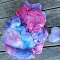 Hand Dyed Pure Silk Hankies~60grams(  Mulberry Silk ) Colorway ~ Silvan Skies.
