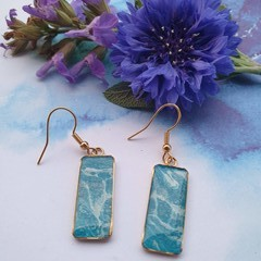 Blue and White Rectangular earrings in Gold or Silver
