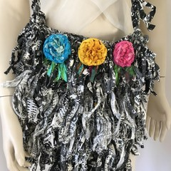 Recycled silk, hand crocheted bag