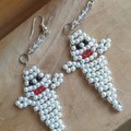 "Halloween ""Boo"" ghostly beaded earrings"