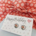 Peach dots Gift Set - Earrings and hair tie