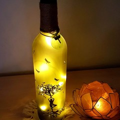 Up cycled bottle lights. Tree of life and dragonflies.