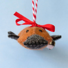 Australian Platypus, handmade felt ornament, Christmas decoration