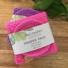 NEW Pamper Pack - Body & Face Scrubbies - Handmade- 100% cotton-Gift idea