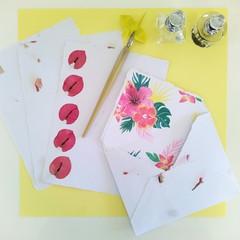 Tropical Flower Handmade Stationery Set