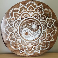 Acacia wood cheese platter / wall art Yin yang mandala