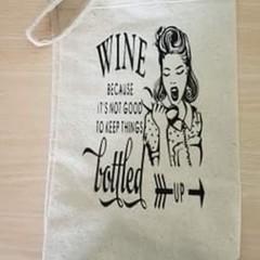 Handmade calico wine bags Selection 3