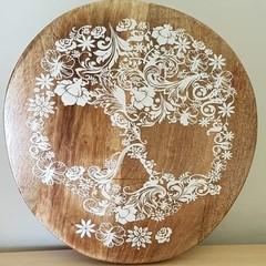 Wooden wall art/ food platter - Floral skull