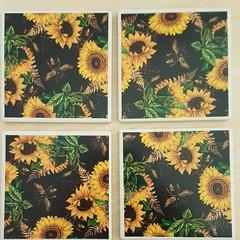 Ceramic coasters  - square- bees & sunflowers