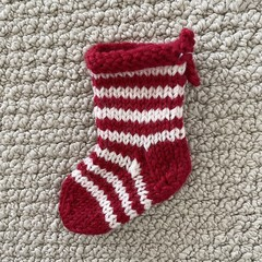 Tiny Red and White striped  Christmas stocking  - Hand knitted