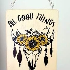 Hanging wooden sign - small - All good things are wild and free