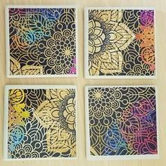 Square ceramic coasters - golden mandala