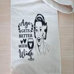 Handmade calico wine bags