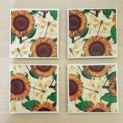 Ceramic coasters -  Dragonflies & sunflowers