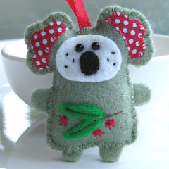 Australian Koala - Felt Christmas Ornament Decoration - Australian Animal