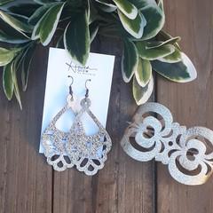 Boho Gold, Genuine Leather Cuff Bracelet/ Earring Set