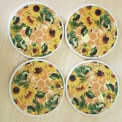 Round ceramic coasters - honeycomb & sunflowers