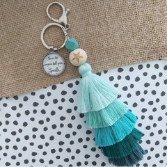 Never let anyone dull your sparkle-  Tassel keyring/bag tag