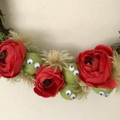 Red Peony Wreath - Silk, felt & dried flowers - Christmas - Red & green
