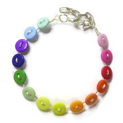 Rainbow bracelet. Button jewelry, button bracelet, gift for her