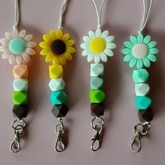 Silicone bead flower lanyards / ID holders / badge holders