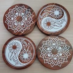 Wooden acacia coasters. Yin yang mandala