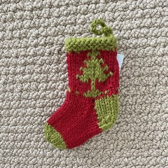 Tiny Green and Red  Christmas Tree stocking  - Hand knitted