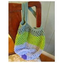 Crochet Mesh Market Bag - Water Lily