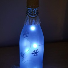 Upcycled bottle light - snowflakes