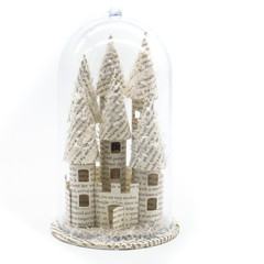 Fairy castle in a bell jar - Book art - Book sculpture - Altered books