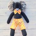 'Keith' the Sock Koala - yellow tutti frutti - *MADE TO ORDER*