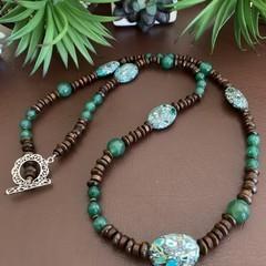 Green Jade and Jasper Beaded Necklace