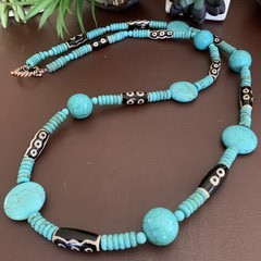 Turquoise Tribal Beaded Long Necklace