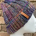 Purple men's or ladies knitted winter beanie rainbow