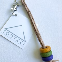 Texture Keychain (Mustard + Olive + Grape ) on Tan Chord w/ Silver Clip