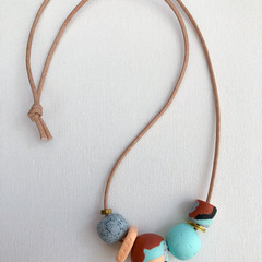 """ORGANIK"" (Aqueous) - Handmade Beaded Necklace on Tan Indian Cotton Cord"