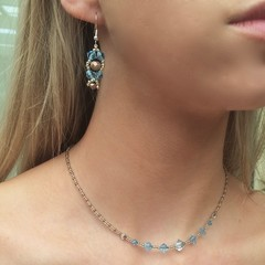 Swarovski Crystal Earring & Necklace Set: Lyrica & L'Argent