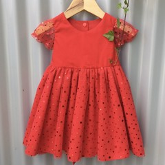 Toddler's Christmas/Party dress with sequined tulle overlay.