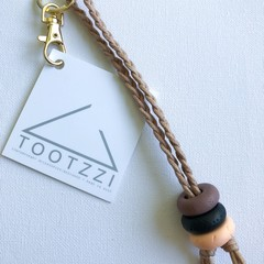 Texture Keychain (Mauve + Black + Lt Peach) on Tan Chord w/ Gold Clip