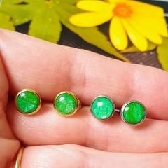 Petite Pastel Green Earrings set in Silver or Gold