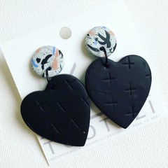 """All Heart"" Double Drop Dangle Studs - Black Doves"