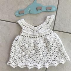 Crochet 100% Cotton Baby Girl Boho Vintage Dress,handmade 💕