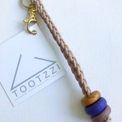 Texture Keychain (Copper + Grape + Mauve) on Tan Chord w/ Gold Clip