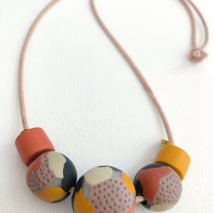 """ORGANIK"" (Grasslands) - Handmade Beaded Necklace on Tan Indian Cotton Cord (ii)"