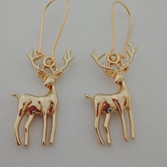 Gold reindeer charm Christmas earrings